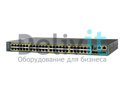 Коммутатор Cisco Catalyst C2960XR 48 10/100/1000 PoE+ ports PoE budget of 370 W 2 SFP+ module slots, 640-W power supply