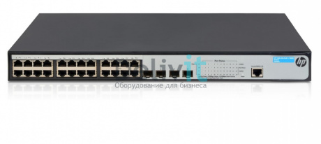 Коммутатор HP 1920-24G-PoE+ 180W Switch Web-managed, Limited CLI, 24*10/100/1000 PoE+, 4*SFP, PoE+ 180W, static routing, rack-mounting, 19""