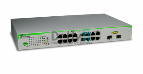 Коммутатор Allied Telesis 16x10/100/1000TX WebSmart switch + 2xSFP (VLAN group, Port Trunking, Port Mirroring, QoS) rackmount hardware included